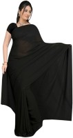 Surupta Solid Fashion Handloom Pure Georgette Saree(Black)