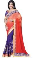 Saara Self Design, Solid Fashion Georgette Saree(Purple, Red)