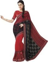 Vibes Self Design Fashion Georgette Saree(Red)