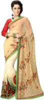 Vibes Embroidered Fashion Synthetic Georgette Saree(Beige)