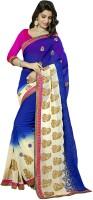 Jiya Self Design, Embroidered Fashion Poly Georgette Saree(White, Blue)