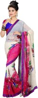 Khoobee Printed Fashion Poly Georgette Saree(Multicolor, Pink)