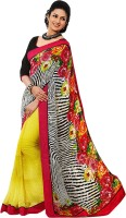 Rozdeal Printed Fashion Georgette Saree(Yellow, Black, Red)