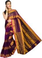 Pavechas Striped Banarasi Cotton, Silk Saree(Purple)