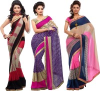 Silkbazar Self Design Fashion Synthetic Georgette Saree(Pack of 3, Multicolor)