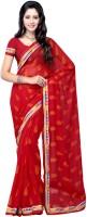 Suvastram Printed Fashion Chiffon Saree(Red)