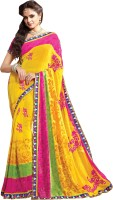 Khushali Self Design, Embroidered, Embellished Fashion Georgette Saree(Yellow, Pink)