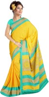 Khoobee Printed Fashion Poly Crepe Saree(Light Blue, Yellow)