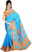 Khoobee Geometric Print Fashion Poly Crepe Saree(Light Blue, Orange)