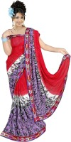 Khoobee Printed Fashion Poly Georgette Saree(Red)