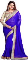 Sourbh Sarees Self Design, Solid, Embroidered Fashion Synthetic Georgette Saree(Blue)