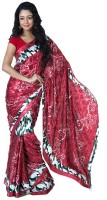 SSMITN Printed Fashion Crepe Saree(Red)