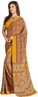 Khoobee Printed Fashion Poly Crepe Saree(Red, Yellow)