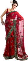Aksh Fashion Embroidered Bollywood Net Saree(Red)