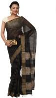 Kataan Bazaar Woven Maheshwari Handloom Cotton Saree(Black)