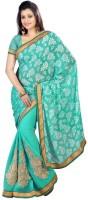 Chirag Sarees Floral Print Fashion Cotton Blend Saree(Light Green)