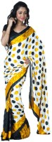 SSMITN Printed Fashion Crepe Saree(Yellow)