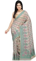 Bunkar Self Design Banarasi Cotton Saree(White, Multicolor)