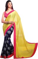 Cenizas Printed Fashion Georgette Saree(Yellow)