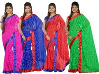 Silkbazar Self Design Fashion Synthetic Georgette Saree(Pack of 4, Multicolor)