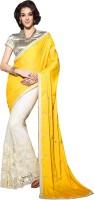 Ishin Embroidered Fashion Satin Saree(White)