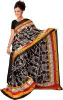 Jiya Self Design, Printed Fashion Chiffon Saree(Multicolor, Black)
