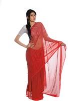 Aaradhya Fashion Printed Leheria Handloom Poly Georgette Saree(Red)