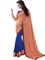 Admyrin Self Design, Solid Fashion Chiffon Saree(Orange, Blue, Yellow)
