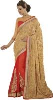 Desi Butik Self Design Fashion Brasso Saree(Gold)