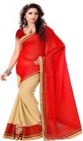Sourbh Sarees Self Design Fashion Jacquard, Chiffon Saree(Red, Beige)