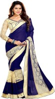 Sourbh Sarees Self Design, Solid, Embroidered Fashion Synthetic Georgette, Brasso Saree(Dark Blue, Beige)