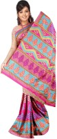 Khoobee Printed Fashion Tussar Silk Saree(Pink)