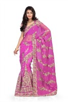 Chirag Sarees Self Design Fashion Net Saree(Pink)