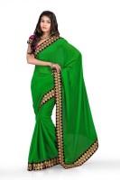 Chirag Sarees Self Design Fashion Chiffon Saree(Dark Green)