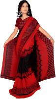 Khoobee Printed Fashion Poly Georgette Saree(Red, Black)