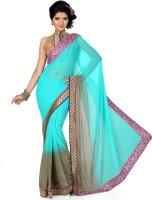 Saree Swarg Solid Bollywood Chiffon Saree(Light Blue, Grey)
