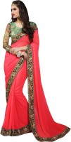 Khoobee Self Design, Embellished Fashion Jacquard Saree(Red)