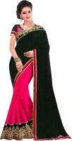 Florence Embroidered Fashion Chiffon Saree(Black, Pink)