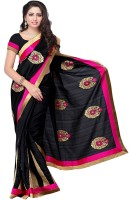 Meghdoot Solid Fashion Poly Silk Saree(Black)