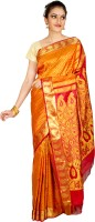 Thara Sarees Self Design Kanjivaram Silk Saree(Orange, Red)