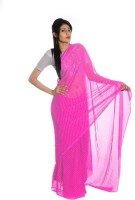 Aaradhya Fashion Printed Leheria Handloom Georgette Saree(Pink)