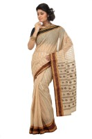 Mrsaree Self Design Tant Handloom Cotton Saree(Beige)