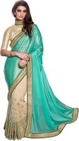 Jiya Self Design, Embroidered, Embellished Fashion Net, Lycra Saree(Green, Beige)