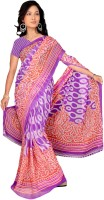 Khoobee Printed Fashion Chiffon Saree(Multicolor, Purple)