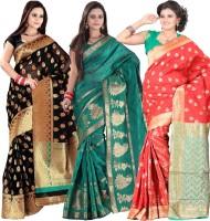 Indi Wardrobe Woven Banarasi Handloom Banarasi Silk Saree(Pack of 3, Black, Green, Red)