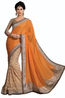 Chirag Sarees Embroidered Fashion Organza Saree(Orange)
