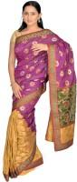 Jagadamba Floral Print Fashion Silk Saree(Purple)