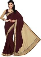 Saree Swarg Solid Bollywood Jacquard, Brasso Saree(Maroon, Beige)
