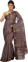 Mrsaree Self Design Tant Handloom Cotton Saree(Grey)