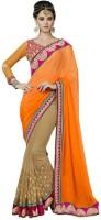 Desi Butik Embellished Fashion Jacquard, Georgette Saree(Orange, Brown)